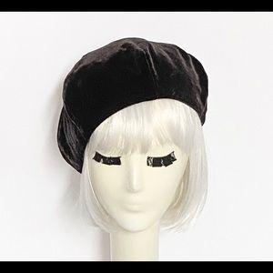 Brown Velvet Beret Hat